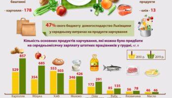Домогосподарства Львівщини у 2019 році в середньому витрачали на продукти харчування близько половини своїх грошових видатків (47%)