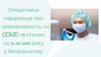 Оперативна інформація щодо захворюваності на COVID-19 станом на 15.09.2021 року