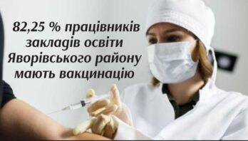 82,25 % працівників закладів освіти Яворівського району мають вакцинацію