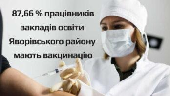 87,66 % працівників закладів освіти Яворівського району мають вакцинацію